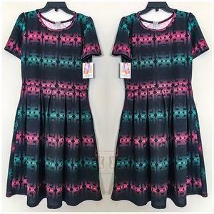 LuLaRoe Amelia Green Pink Black stripe Dress XL